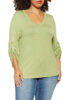 Plus Size Tabbed Long Sleeve Tee - 3917074284007