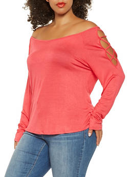 Plus Size Caged Long Sleeve Top - 3917074284009