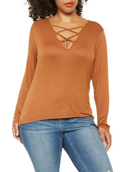 Plus Size Caged Long Sleeve Tee - 3917074284014
