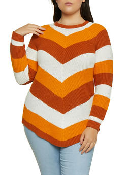 Plus Size Chevron Striped Sweater - 3920015050005