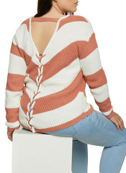 Plus Size Striped Lace Up Back Sweater - 3920015050006