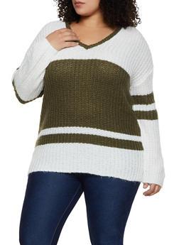 Plus Size Color Block V Neck Sweater - 3920015050018