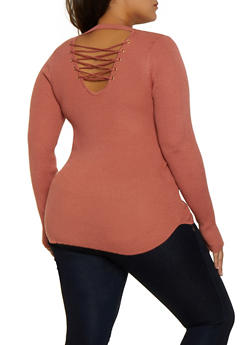 Plus Size Lace Up Keyhole Back Sweater - 3920015050019