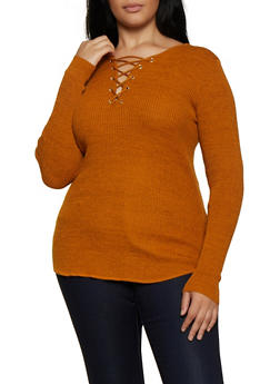 Plus Size Marled Lace Up Sweater - 3920015050026