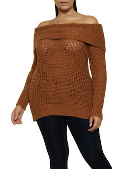 Plus Size Fold Over Off the Shoulder Sweater - 3920015050122