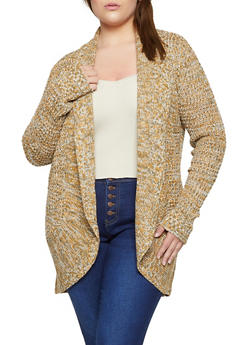 Plus Size Knit Marled Cardigan - 3920015050358