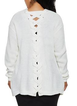 Plus Size Lace Up Back Cardigan - 3920015050371