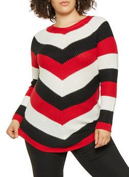 Plus Size Chevron Knit Sweater - 3920015056011