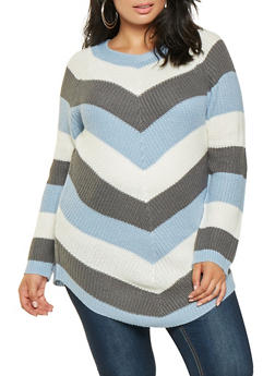 Plus Size Chevron Knit Sweater - 3920015056011