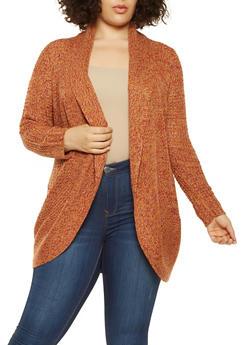 Plus Size Marled Knit Cardigan - 3920015056358