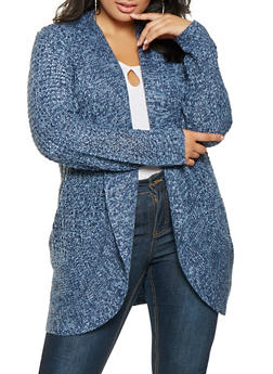 Plus Size Marled Knit Cardigan - 3920015056358