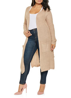 Plus Size Lace Up Knit Duster - 3920015056364