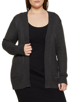 Plus Size Open Front Two Pocket Cardigan - 3920038341222