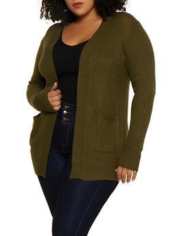 Plus Size Two Pocket Cardigan - 3920038342222