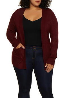 Plus Size Two Pocket Cardigan - 3920038342222