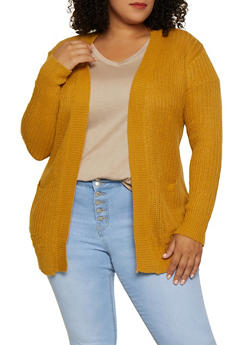 Plus Size Two Pocket Open Front Knit Cardigan - 3920038343222
