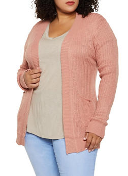 Two Pocket Open Front Cardigan - 3920038344222