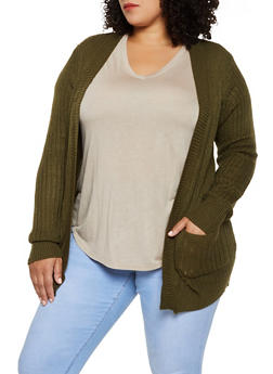 Plus Size Two Pocket Open Front Cardigan - 3920038346222