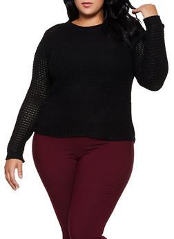 Plus Size Chunky Knit Sweater - 3920038348102