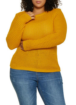 Plus Size Chunky Knit Sweater - 3920038348102