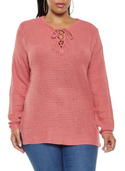 Plus Size Lace Up Sweater - 3920038348104