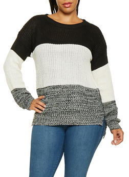 Plus Size Knit Color Block Sweater - 3920038348105
