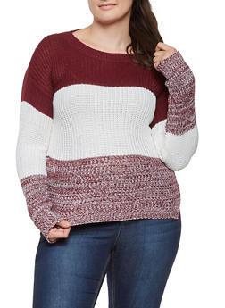 Plus Size Knit Color Block Sweater - 3920038348105