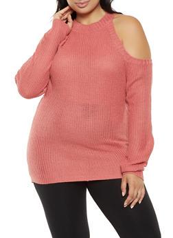 Plus Size Cold Shoulder Sweater - 3920038348106