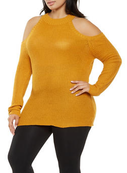 Plus Size Cold Shoulder Sweater - 3920038348106