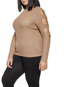 Plus Size Cut Out Sleeve Sweater - 3920038348109