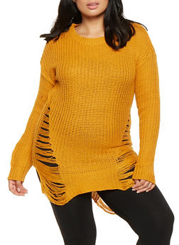 Plus Size Shredded High Low Sweater - 3920038348110