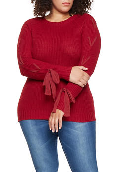 Plus Size Lace Up Sleeve Sweater - 3920038348111