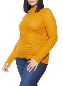 Plus Size Mock Neck Knit Sweater - 3920038348112