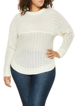 Plus Size Crew Neck Sweater - 3920038348114