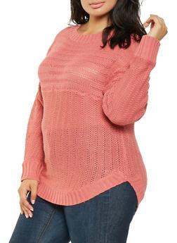 Plus Size Crew Neck Sweater - 3920038348114