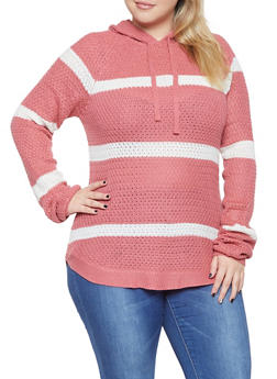 Plus Size Striped Hooded Knit Sweater - 3920038348118