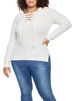 Plus Size Lace Up Sweater - 3920038348121