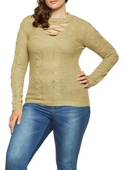 Plus Size Lace Up Sweater - 3920038348124