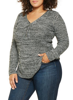 Plus Size Zip Neck Sweater - 3920038348126
