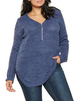 Plus Size Zip Neck Sweater - 3920038348126