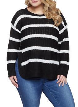 Plus Size Striped Sweater - 3920038348127