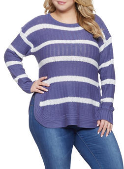 Plus Size Striped Sweater - 3920038348127