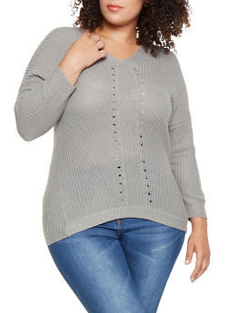 Plus Size Pointelle V Neck Sweater - 3920038348128