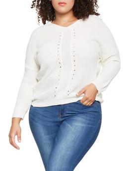 Plus Size Pointelle V Neck Sweater - 3920038348128
