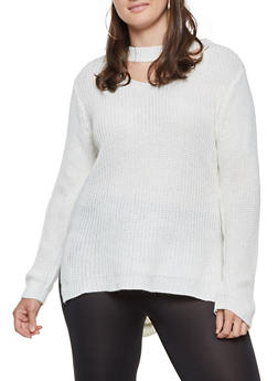 Plus Size Keyhole Neck Sweater - 3920038348131