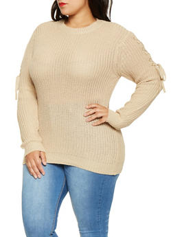Plus Size Lace Up Sleeve Sweater - 3920038348135