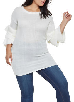 Plus Size Tiered Sleeve Knit Sweater - 3920038348139