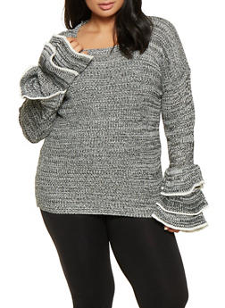 Plus Size Tiered Bell Sleeve Sweater - 3920038348140
