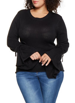 Plus Size Bell Sleeve Sweater - 3920038348141