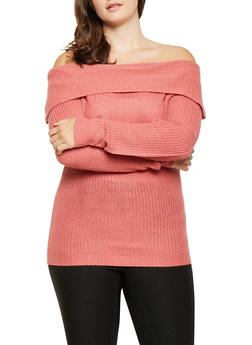 Plus Size Off the Shoulder Sweater - 3920038348144